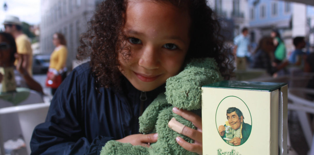 Katie with green teddy bear