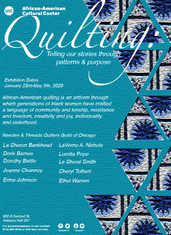This exhibit features works by the Needles and Threads Quilters Guild (NTQG) of Chicago.