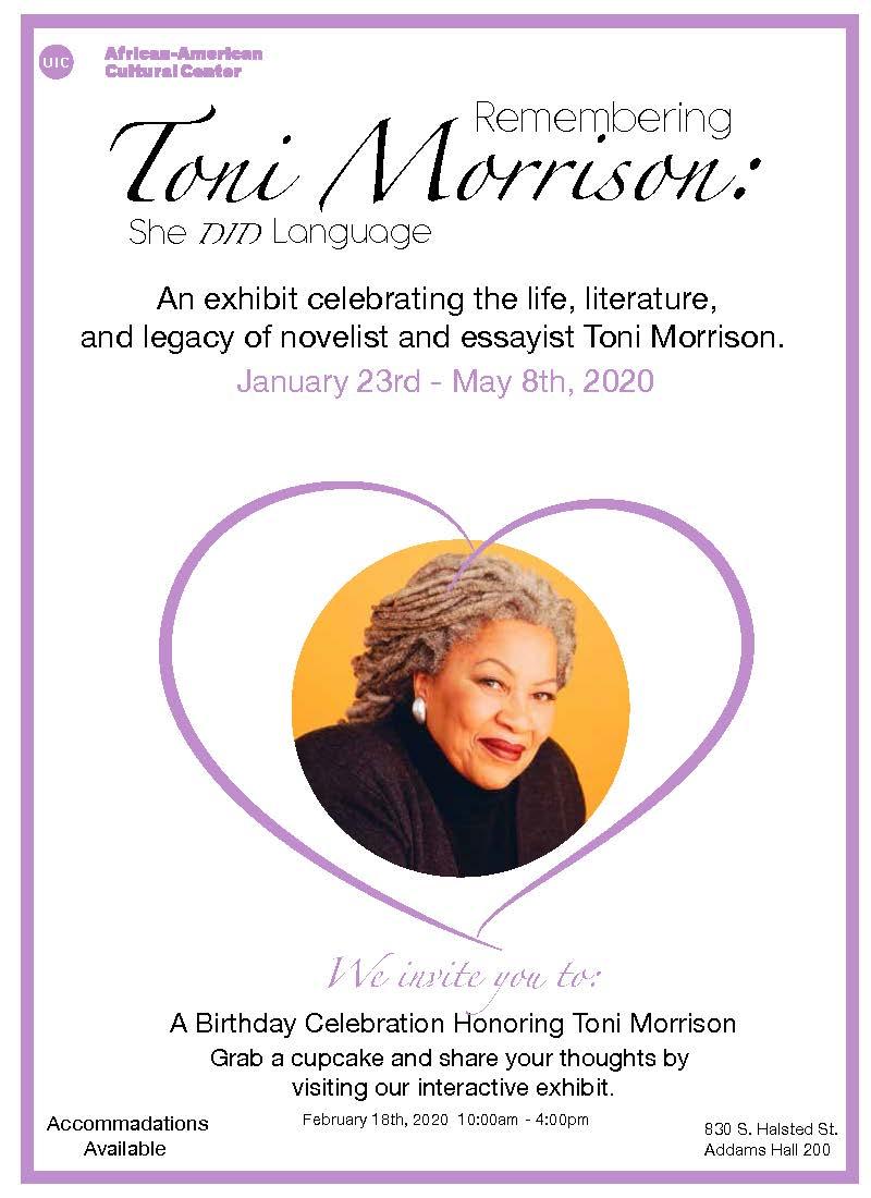 Toni Morrison exhibit flyer
