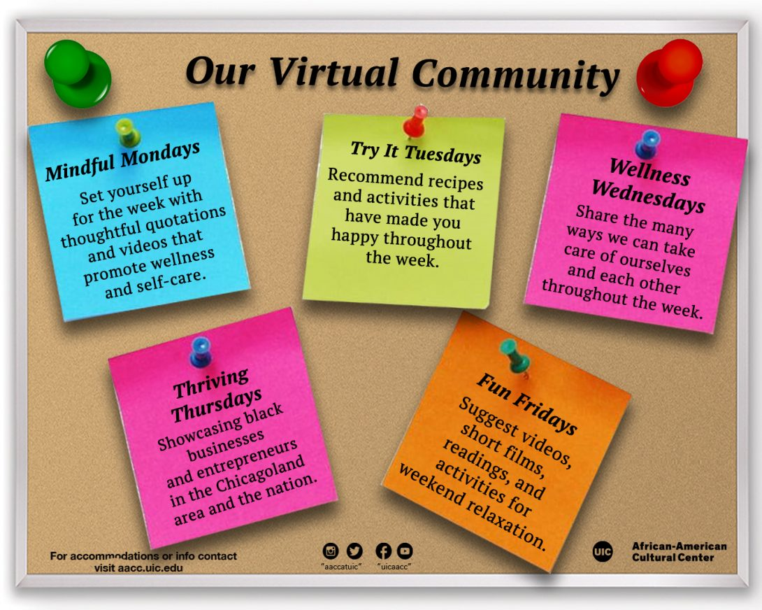 Our virtual community cork board flyer with sticky notes of everyday of the week with daily themes written on them